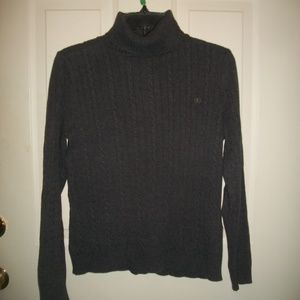 IZOD gray cable knit turtleneck sweater S